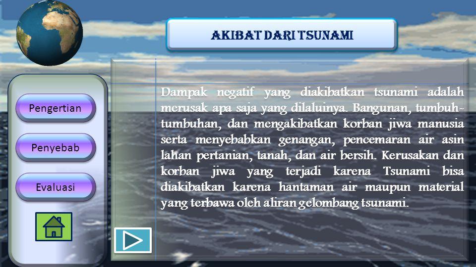 Dampak negatif yang diakibatkan tsunami adalah merusak apa saja yang dilaluinya. Bangunan, tumbuh- tumbuhan, dan mengakibatkan korban jiwa manusia ser