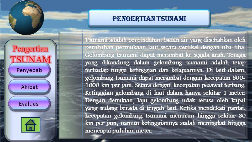 Tsunami adalah perpindahan badan air yang disebabkan oleh perubahan permukaan laut secara vertikal dengan tiba-tiba. Gelombang tsunami dapat merambat