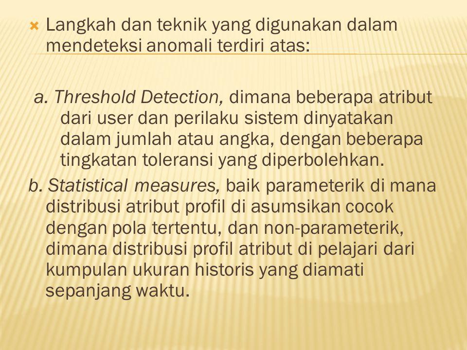  Langkah dan teknik yang digunakan dalam mendeteksi anomali terdiri atas: a.