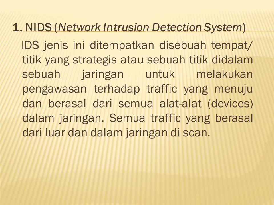 1. NIDS (Network Intrusion Detection System) IDS jenis ini ditempatkan disebuah tempat/ titik yang strategis atau sebuah titik didalam sebuah jaringan