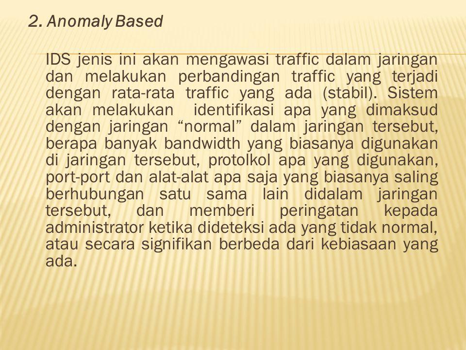 2. Anomaly Based IDS jenis ini akan mengawasi traffic dalam jaringan dan melakukan perbandingan traffic yang terjadi dengan rata-rata traffic yang ada