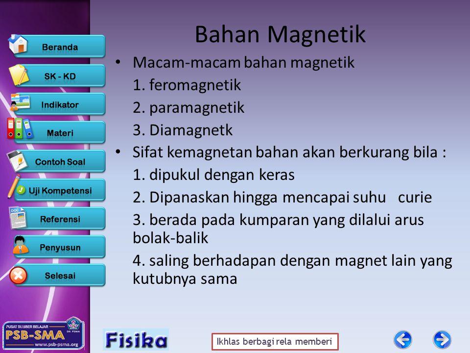 Ikhlas berbagi rela memberi Bahan Magnetik •M•Macam-macam bahan magnetik 1. feromagnetik 2. paramagnetik 3. Diamagnetk •S•Sifat kemagnetan bahan akan