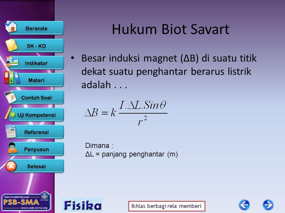 Ikhlas berbagi rela memberi Hukum Biot Savart • Besar induksi magnet (ΔB) di suatu titik dekat suatu penghantar berarus listrik adalah... Dimana : ΔL