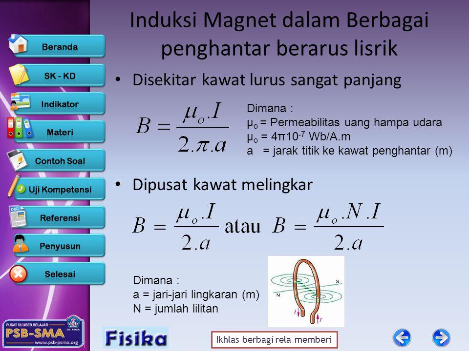 Ikhlas berbagi rela memberi Induksi Magnet dalam Berbagai penghantar berarus lisrik • Disekitar kawat lurus sangat panjang • Dipusat kawat melingkar D