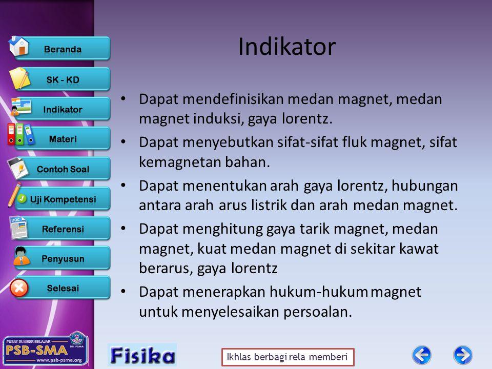Ikhlas berbagi rela memberi Indikator • Dapat mendefinisikan medan magnet, medan magnet induksi, gaya lorentz. • Dapat menyebutkan sifat-sifat fluk ma