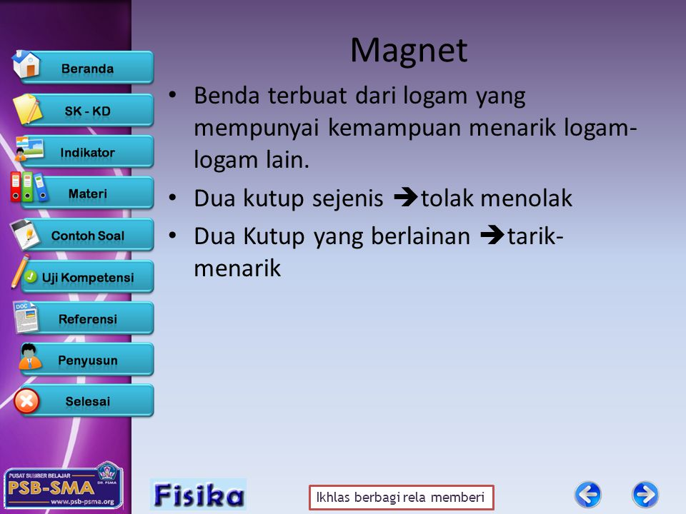 Ikhlas berbagi rela memberi Hukum Coulomb Besarnya gaya tarik-menarik atau tolak-menolak antara dua kutub magnet sebanding dengan kekuatan kutub masing-masing magnet dan berbanding terbalik dengan kuadrat jarak antara kedua kutub magnet Dimana : F = gaya tarik/tolak (N) m = kuat kutub magnet (A.m) r = jarak antar kutub (m) k = konstanta pembanding k = 10 -7 Wb/A.m