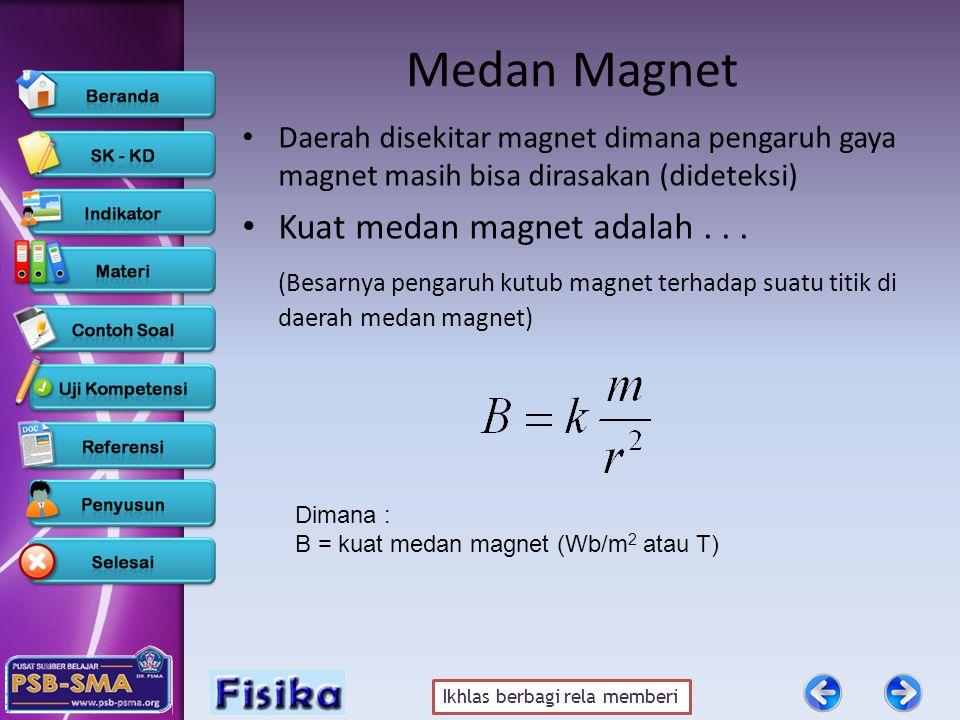 Ikhlas berbagi rela memberi Medan Magnet •D•Daerah disekitar magnet dimana pengaruh gaya magnet masih bisa dirasakan (dideteksi) •K•Kuat medan magnet