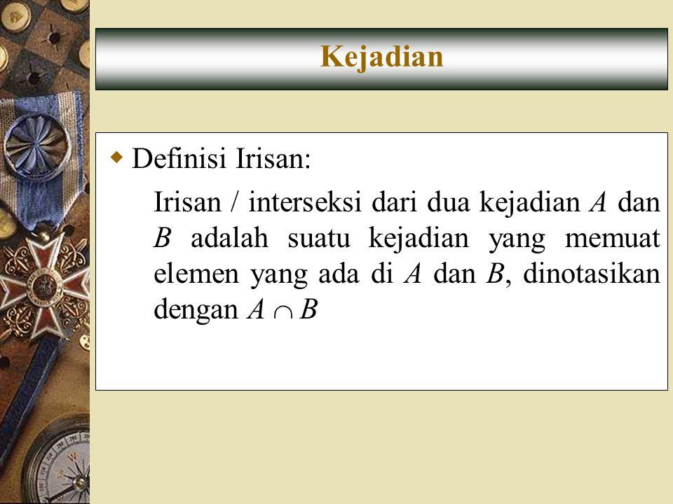  Definisi Irisan: Irisan / interseksi dari dua kejadian A dan B adalah suatu kejadian yang memuat elemen yang ada di A dan B, dinotasikan dengan A 