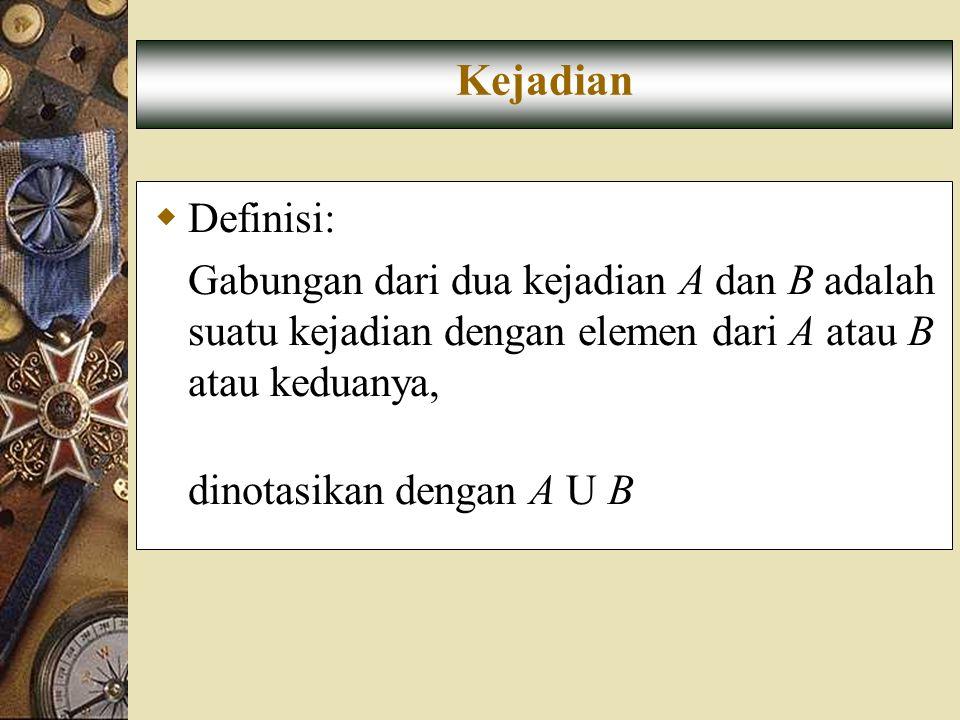  Definisi: Gabungan dari dua kejadian A dan B adalah suatu kejadian dengan elemen dari A atau B atau keduanya, dinotasikan dengan A U B Kejadian