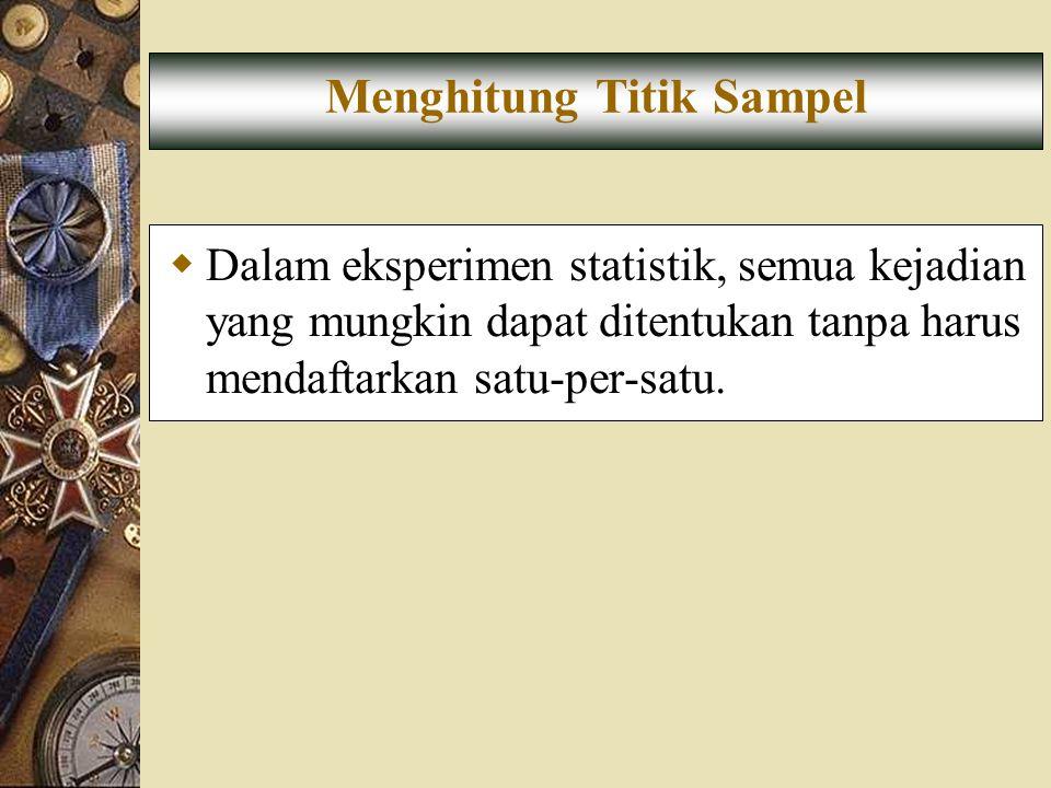  Dalam eksperimen statistik, semua kejadian yang mungkin dapat ditentukan tanpa harus mendaftarkan satu-per-satu. Menghitung Titik Sampel