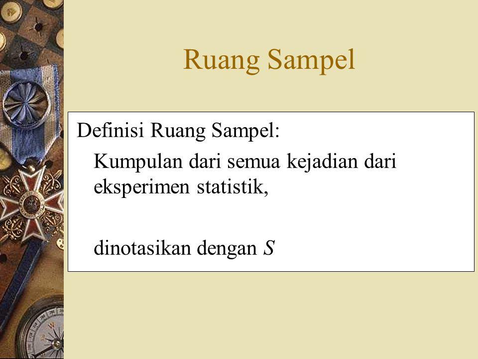 Ruang Sampel Definisi Ruang Sampel: Kumpulan dari semua kejadian dari eksperimen statistik, dinotasikan dengan S