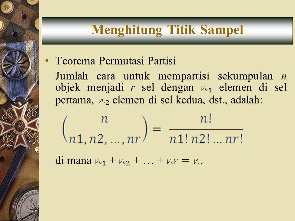• Teorema Permutasi Partisi Jumlah cara untuk mempartisi sekumpulan n objek menjadi r sel dengan n ₁ elemen di sel pertama, n ₂ elemen di sel kedua, d