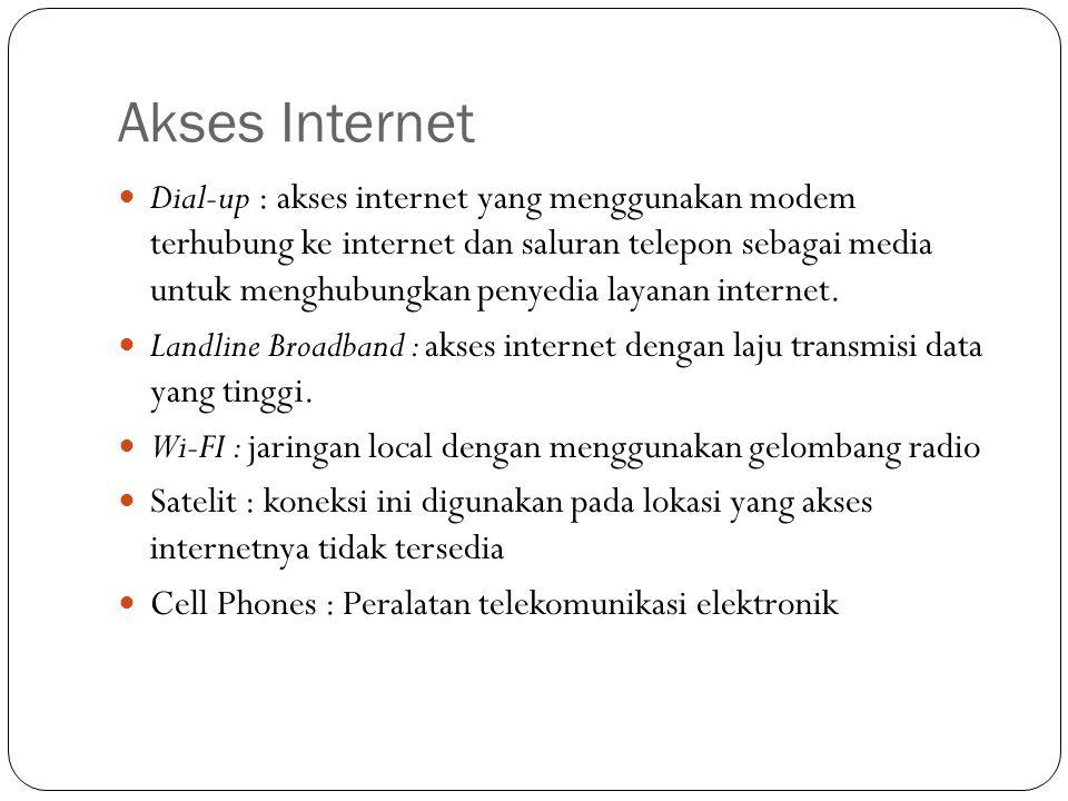 Akses Internet  Dial-up : akses internet yang menggunakan modem terhubung ke internet dan saluran telepon sebagai media untuk menghubungkan penyedia layanan internet.