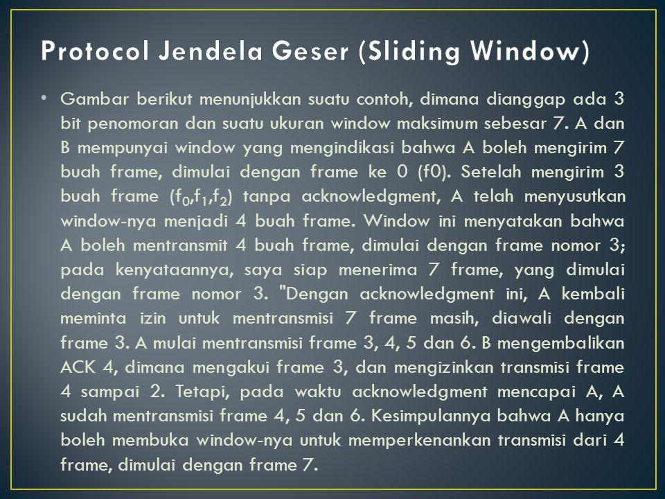 • Gambar berikut menunjukkan suatu contoh, dimana dianggap ada 3 bit penomoran dan suatu ukuran window maksimum sebesar 7.
