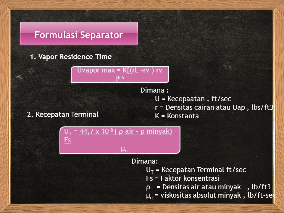 Formulasi Separator 1.