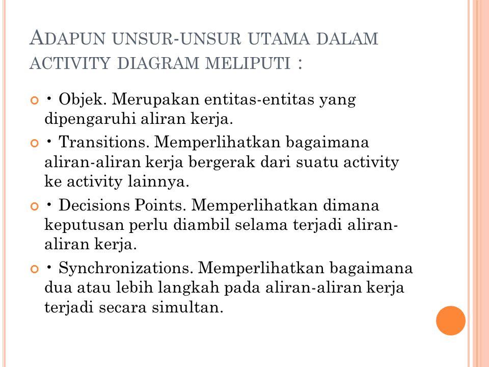 A DAPUN UNSUR - UNSUR UTAMA DALAM ACTIVITY DIAGRAM MELIPUTI : • Objek. Merupakan entitas-entitas yang dipengaruhi aliran kerja. • Transitions. Memperl