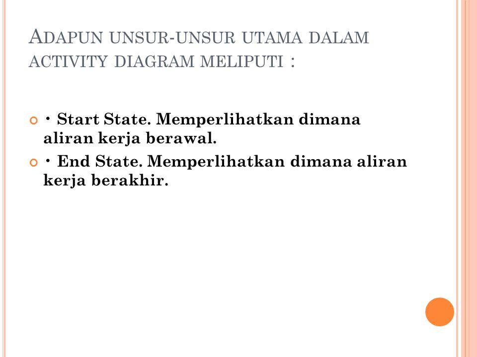 A DAPUN UNSUR - UNSUR UTAMA DALAM ACTIVITY DIAGRAM MELIPUTI : • Start State. Memperlihatkan dimana aliran kerja berawal. • End State. Memperlihatkan d