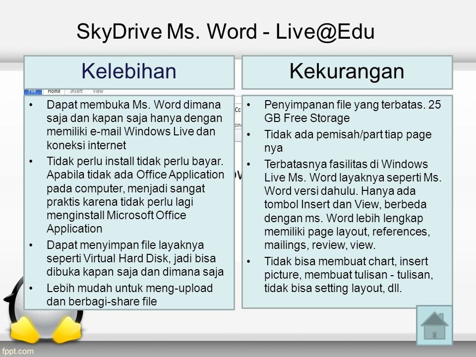 SkyDrive Ms. Word - Live@Edu Kelebihan •Dapat membuka Ms.