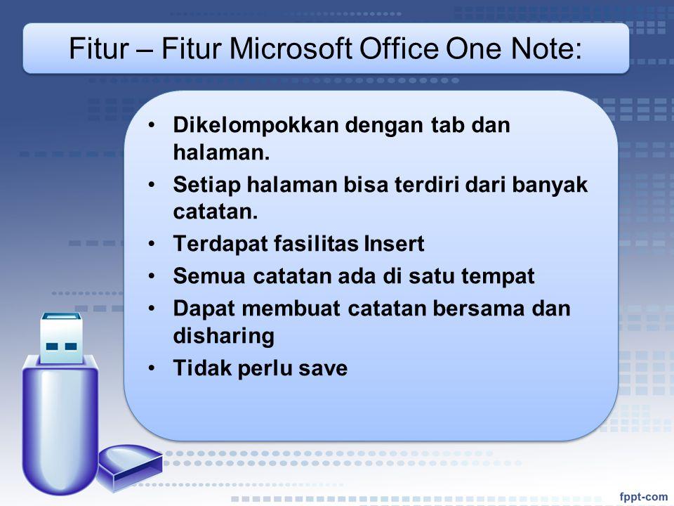 Fitur – Fitur Microsoft Office One Note: •Dikelompokkan dengan tab dan halaman.