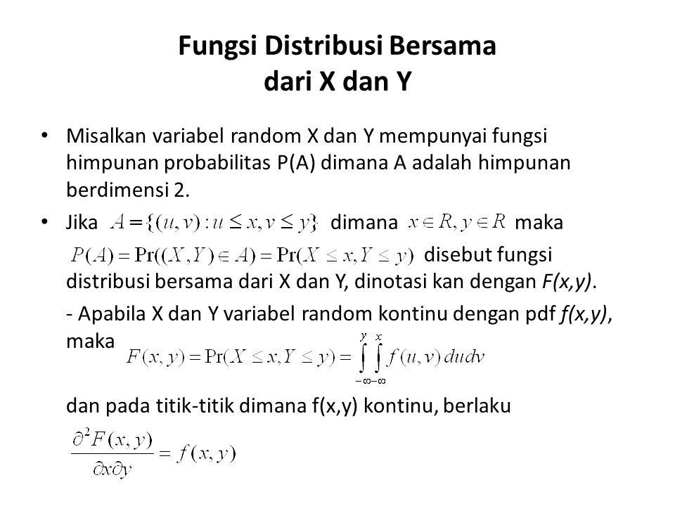 Fungsi Distribusi Bersama dari X dan Y • Misalkan variabel random X dan Y mempunyai fungsi himpunan probabilitas P(A) dimana A adalah himpunan berdimensi 2.