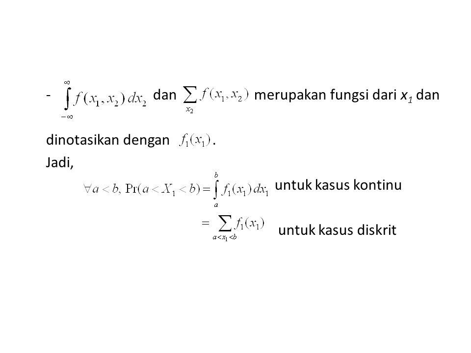 - dan merupakan fungsi dari x 1 dan dinotasikan dengan.