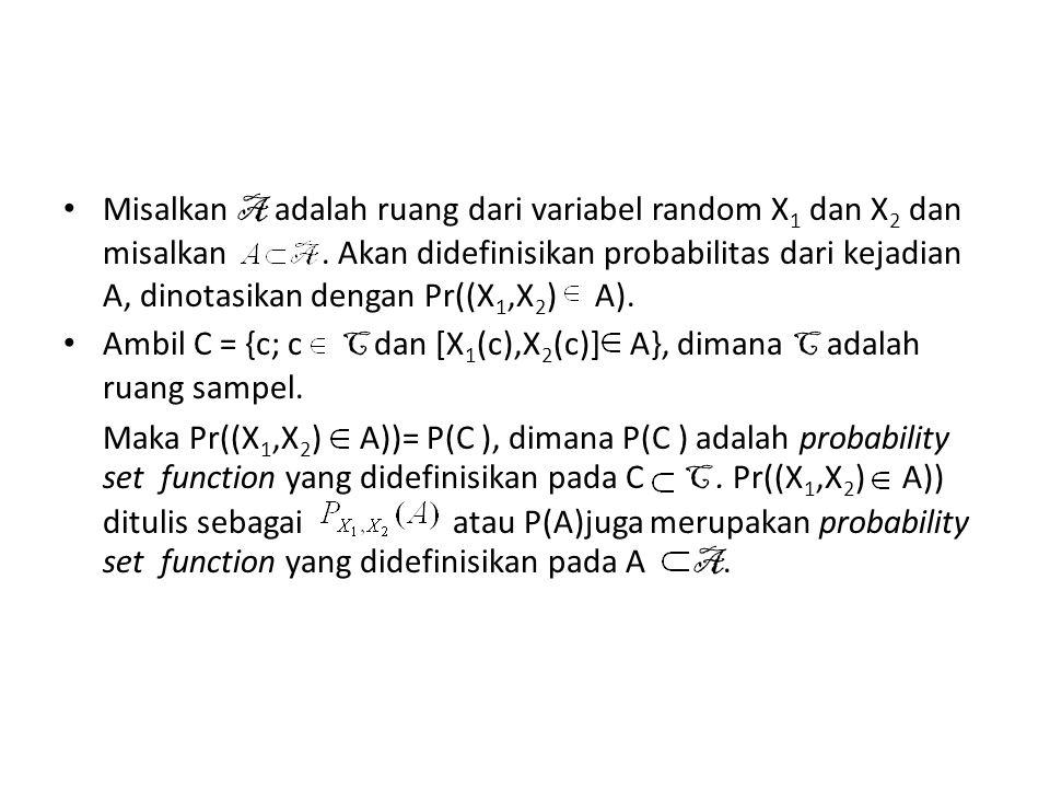 • Contoh: Berdasarkan contoh di awal, A = {(0,0),(0,1),(1,1),(1,2),(2,2),(2,3)} Misal A = {(1,1),(1,2)} A, maka P(A) = Pr((X 1,X 2 ) A))= P(C ) dimana C = {c 3,c 4,c 5,atau c 6 }.