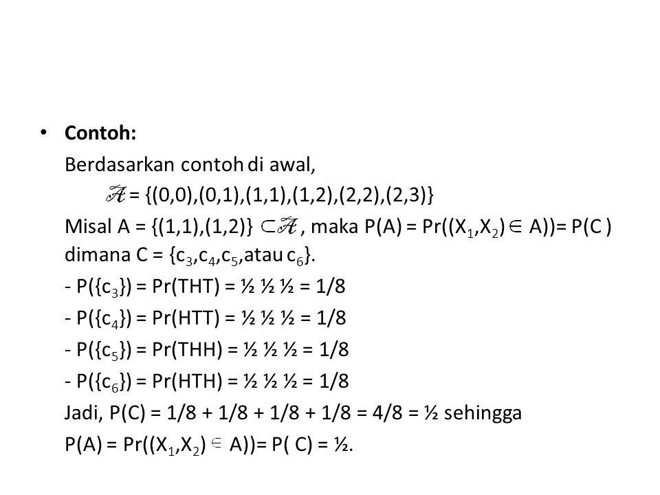 • Tabel distribusi probabilitas untuk setiap elemen A.