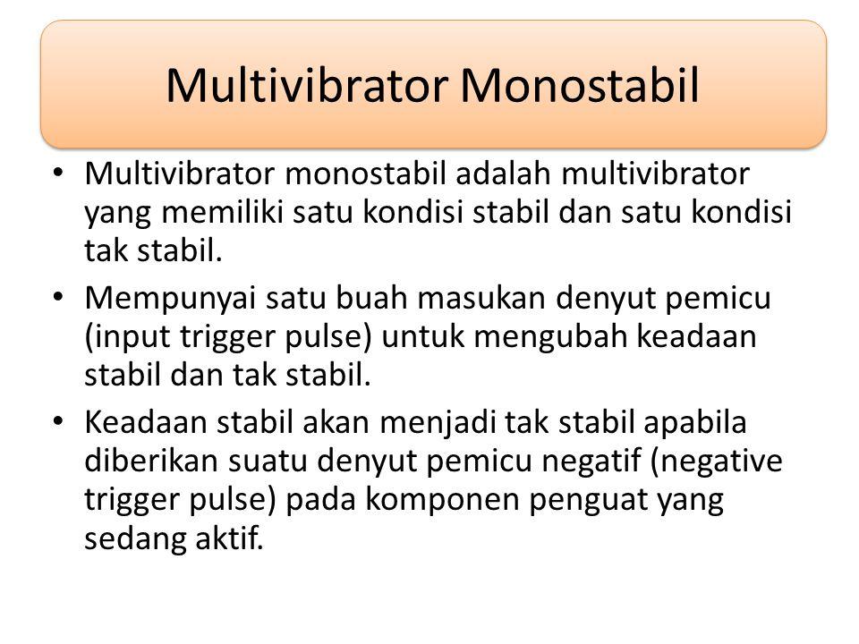 Multivibrator Monostabil • Multivibrator monostabil adalah multivibrator yang memiliki satu kondisi stabil dan satu kondisi tak stabil.