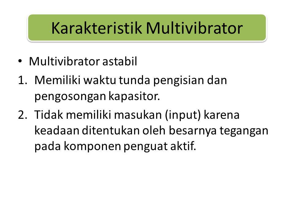 Karakteristik Multivibrator • Multivibrator astabil 1.Memiliki waktu tunda pengisian dan pengosongan kapasitor.
