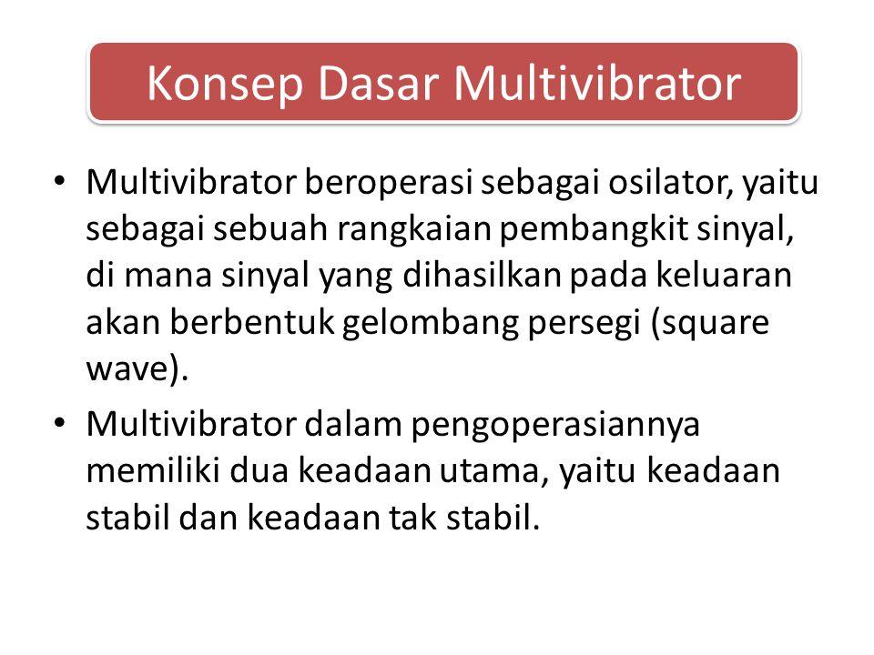 • Multivibrator beroperasi sebagai osilator, yaitu sebagai sebuah rangkaian pembangkit sinyal, di mana sinyal yang dihasilkan pada keluaran akan berbentuk gelombang persegi (square wave).