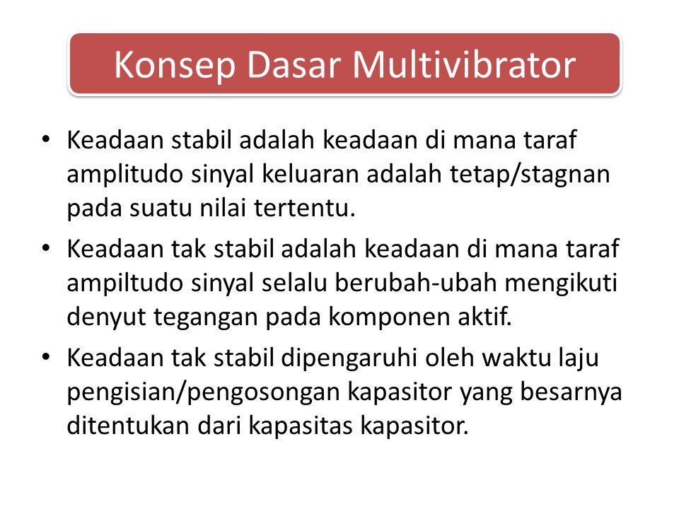 • Multivibrator bistabil Kegunaan dari multivibrator bistabil antara lain: 1.Membangkitkan dan memproses sinyal-sinyal denyut.