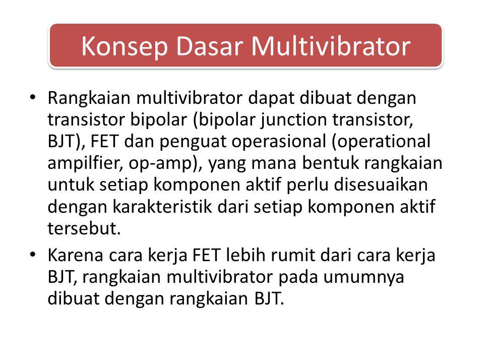 • Rangkaian multivibrator dapat dibuat dengan transistor bipolar (bipolar junction transistor, BJT), FET dan penguat operasional (operational ampilfier, op-amp), yang mana bentuk rangkaian untuk setiap komponen aktif perlu disesuaikan dengan karakteristik dari setiap komponen aktif tersebut.