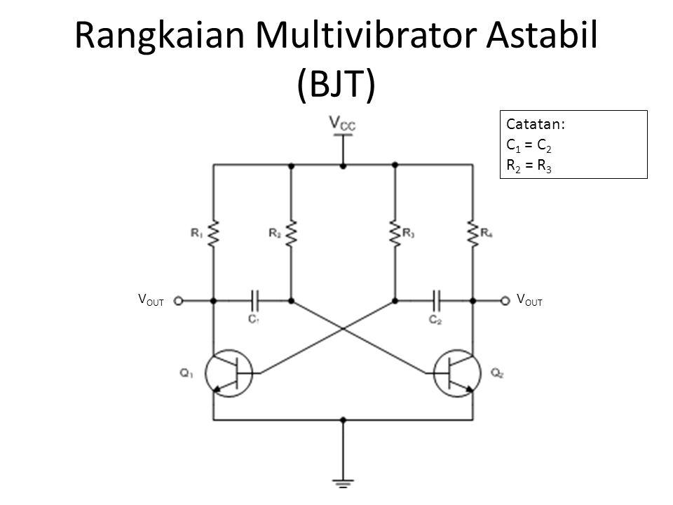 Cara Kerja • Keadaan 1 1.Q 1 menahan tegangan kaki R 1 dan C 1 yang terhubung pada kolektor di 0 V.