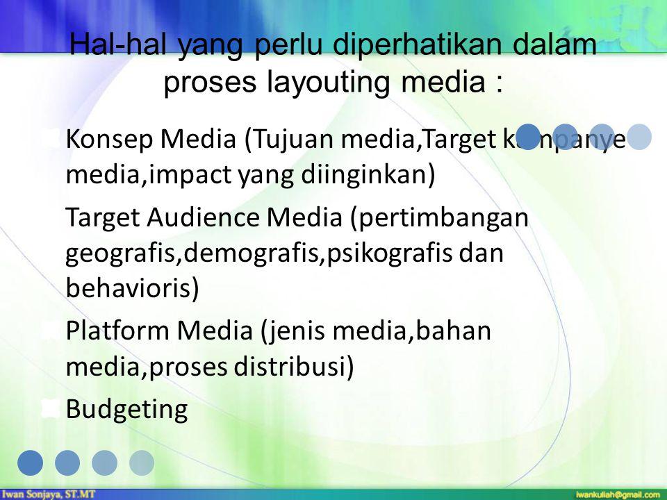 Hal-hal yang perlu diperhatikan dalam proses layouting media : Konsep Media (Tujuan media,Target kampanye media,impact yang diinginkan) Target Audienc
