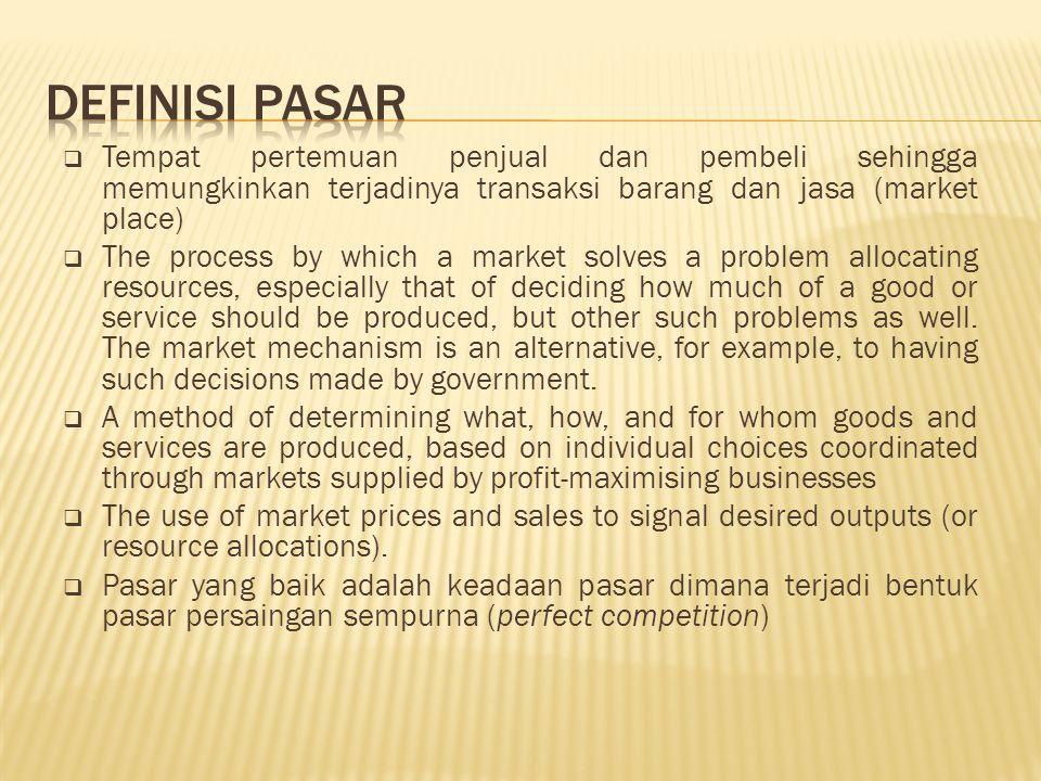  Tempat pertemuan penjual dan pembeli sehingga memungkinkan terjadinya transaksi barang dan jasa (market place)  The process by which a market solve