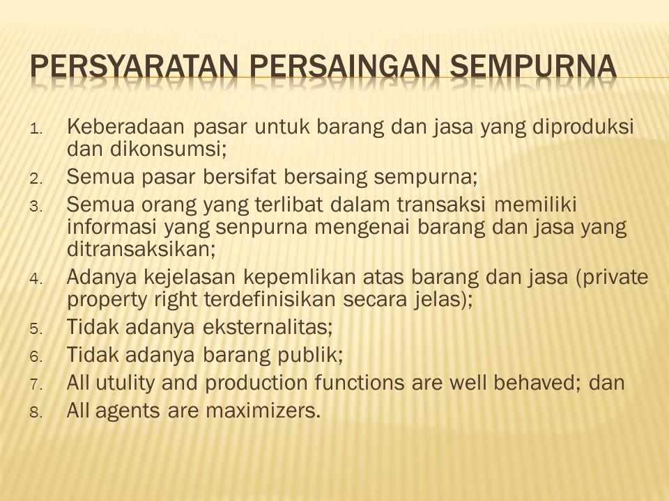 1. Keberadaan pasar untuk barang dan jasa yang diproduksi dan dikonsumsi; 2. Semua pasar bersifat bersaing sempurna; 3. Semua orang yang terlibat dala