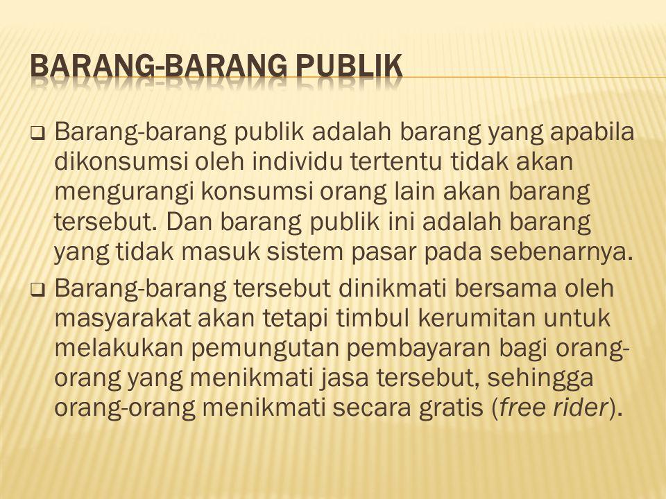  Barang-barang publik adalah barang yang apabila dikonsumsi oleh individu tertentu tidak akan mengurangi konsumsi orang lain akan barang tersebut. Da