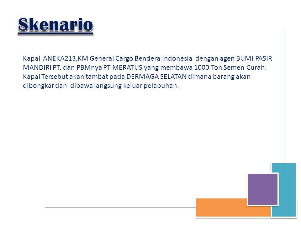 Kapal ANEKA213,KM General Cargo Bendera Indonesia dengan agen BUMI PASIR MANDIRI PT. dan PBMnya PT MERATUS yang membawa 1000 Ton Semen Curah. Kapal Te