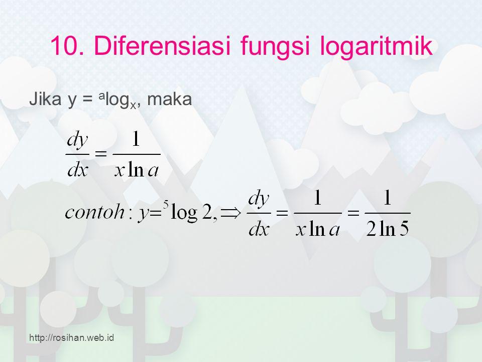 10. Diferensiasi fungsi logaritmik Jika y = a log x, maka http://rosihan.web.id