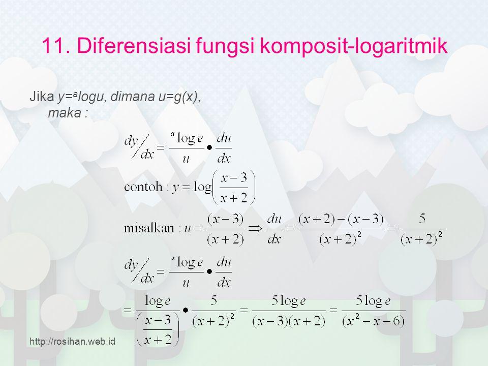 11. Diferensiasi fungsi komposit-logaritmik Jika y= a logu, dimana u=g(x), maka : http://rosihan.web.id
