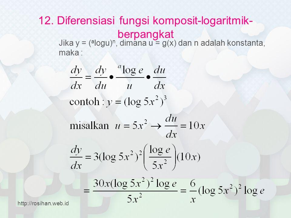 12. Diferensiasi fungsi komposit-logaritmik- berpangkat Jika y = ( a logu) n, dimana u = g(x) dan n adalah konstanta, maka : http://rosihan.web.id