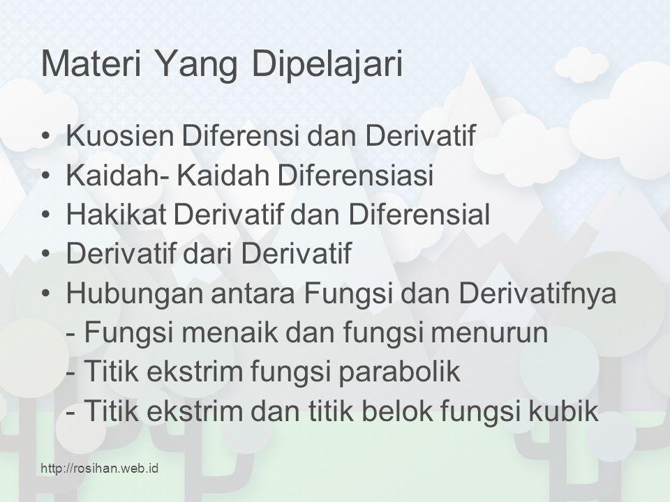 Materi Yang Dipelajari •Kuosien Diferensi dan Derivatif •Kaidah- Kaidah Diferensiasi •Hakikat Derivatif dan Diferensial •Derivatif dari Derivatif •Hub