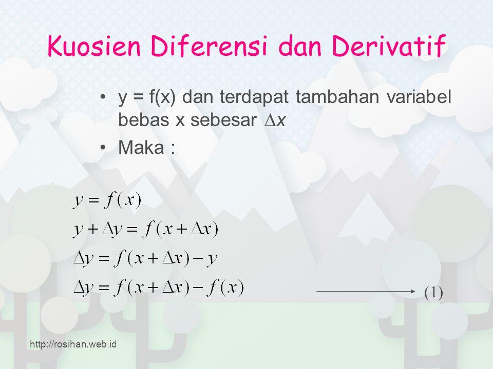 Kuosien Diferensi dan Derivatif •y = f(x) dan terdapat tambahan variabel bebas x sebesar ∆x •Maka : (1) http://rosihan.web.id