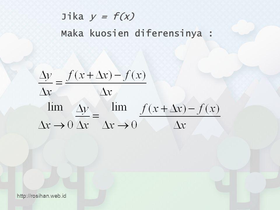 Jika y = f(x) Maka kuosien diferensinya : http://rosihan.web.id