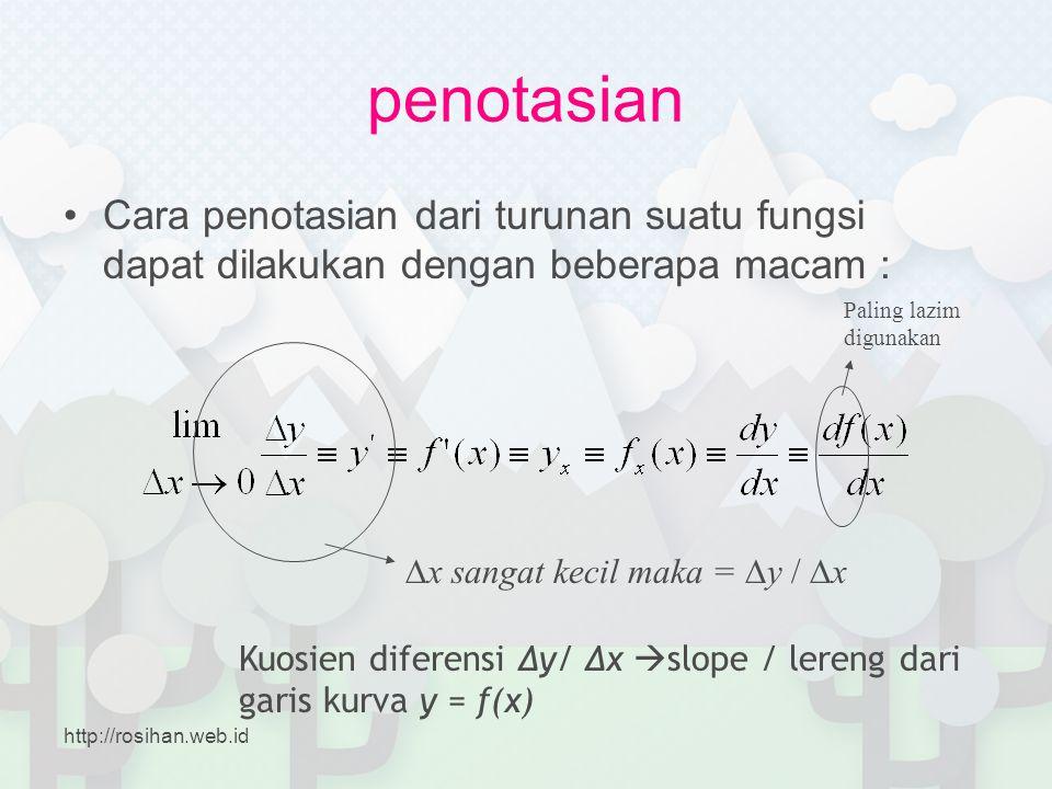 penotasian •Cara penotasian dari turunan suatu fungsi dapat dilakukan dengan beberapa macam : ∆x sangat kecil maka = ∆y / ∆x Kuosien diferensi ∆y/ ∆x