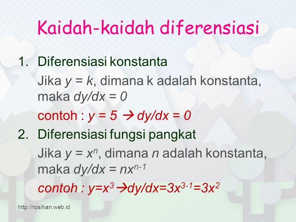 Kaidah-kaidah diferensiasi 1.Diferensiasi konstanta Jika y = k, dimana k adalah konstanta, maka dy/dx = 0 contoh : y = 5  dy/dx = 0 2.Diferensiasi fu