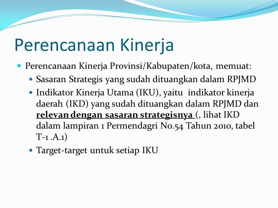 Perencanaan Kinerja  Perencanaan Kinerja Provinsi/Kabupaten/kota, memuat:  Sasaran Strategis yang sudah dituangkan dalam RPJMD  Indikator Kinerja Utama (IKU), yaitu indikator kinerja daerah (IKD) yang sudah dituangkan dalam RPJMD dan relevan dengan sasaran strategisnya (, lihat IKD dalam lampiran 1 Permendagri No.54 Tahun 2010, tabel T-1.A.1)  Target-target untuk setiap IKU