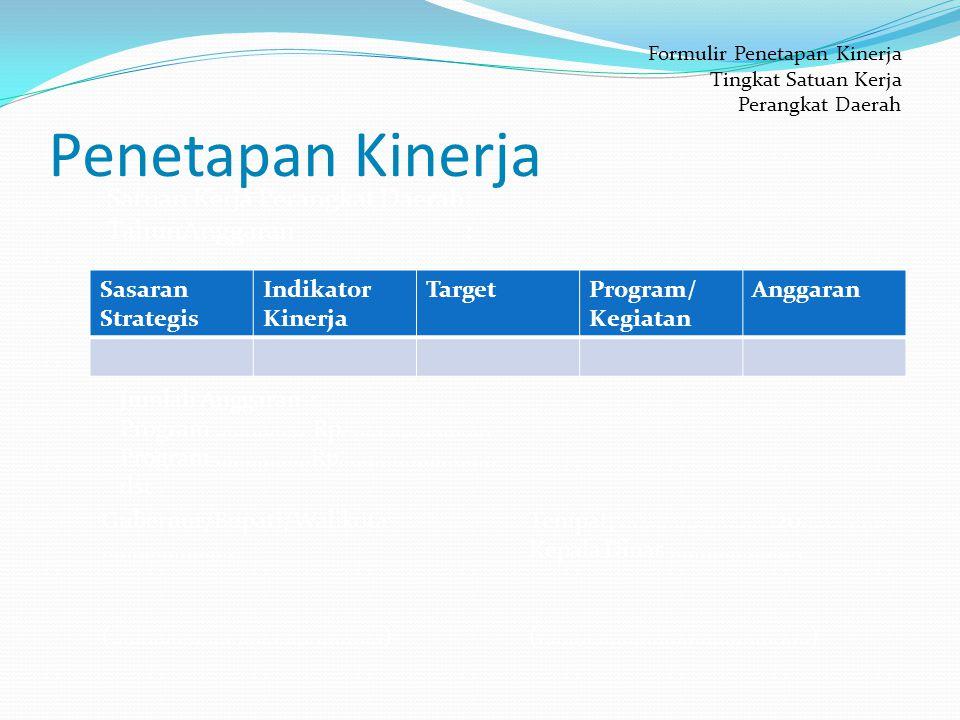 Penetapan Kinerja Sasaran Strategis Indikator Kinerja TargetProgram/ Kegiatan Anggaran Formulir Penetapan Kinerja Tingkat Satuan Kerja Perangkat Daerah Satuan Kerja Perangkat Daerah: TahunAnggaran : Jumlah Anggaran : Program...............