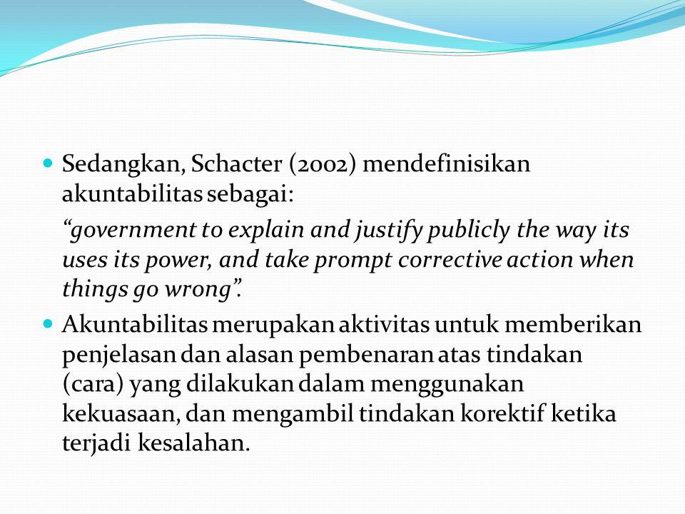 Aktivitas fungsional dalam akuntabilitas yang dimaksud oleh Schacter (2000) terdiri dari 3 (tiga) aktivitas fungsional utama, yaitu: (1) informasi (information), yaitu aktivitas fungsional untuk memberikan penjelasan (menyampaikan informasi) atas tindakan (kebijakan) yang dilakukan dan hasilnya, serta alasan-alasan yang menjadi pembenarnya; (2) tindakan (action), yaitu aktivitas fungsional untuk menilai dan sekaligus mengajukan tuntutan (demands) atas informasi tentang tindakan (kebijakan) dan hasilnya serta alasan pembenarnya yang telah disampaikan tersebut; (3) tanggapan (response), yaitu aktivitas fungsional untuk mengenali dan sekaligus memberikan tanggapan terhadap tuntutan yang berkembang (diajukan) setelah informasi disampaikan, termasuk melakukan tindakan koreksi apabila dinilai memang ada kesalahan yang terjadi.