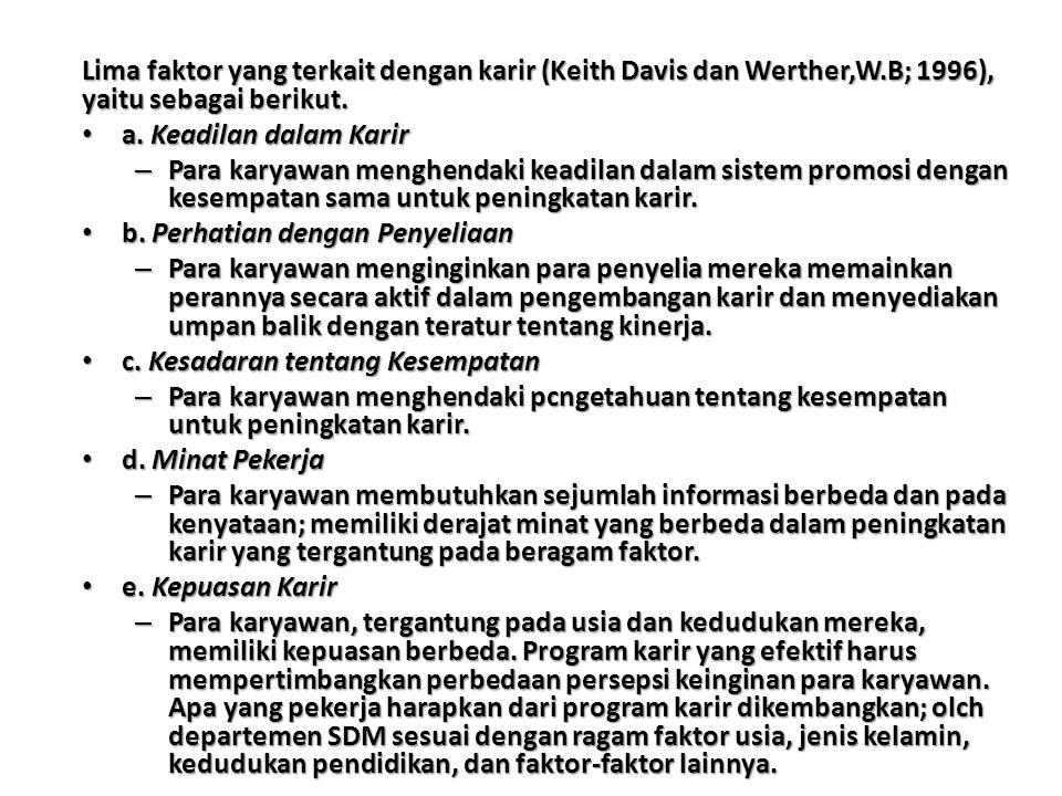 Lima faktor yang terkait dengan karir (Keith Davis dan Werther,W.B; 1996), yaitu sebagai berikut.
